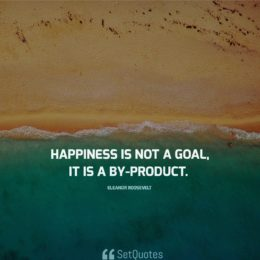 """Happiness is not a goal; it is a by-product."" - Eleanor Roosevelt"