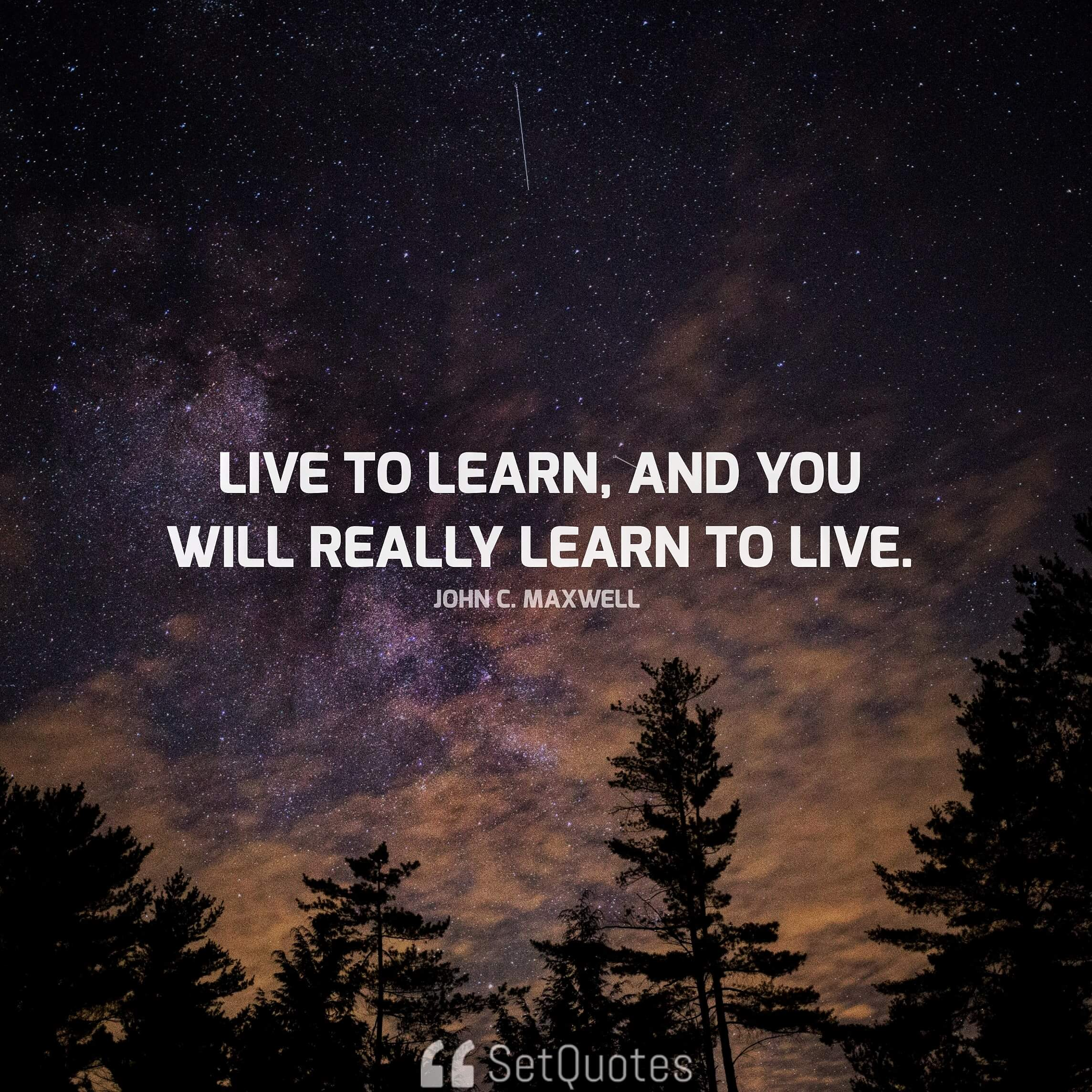 Live to learn, and you will really learn to live. - John C. Maxwell